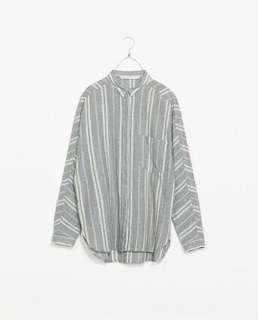 Preloved Zara Trafaluc Linen Blend Shirt - Grey Stripes
