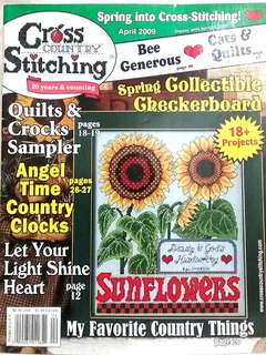 Cross Country Stitching April 2009 magazine, rare out of print, cross stitch design pattern chart country sampler clock flowers house