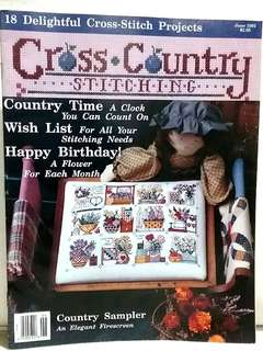 Cross Country Stitching June 1992 magazine, rare out of print, cross stitch design pattern chart country sampler clock flowers house