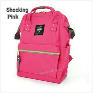 Instock 💯 Shocking Pink Authentic Anello Canvas Backpack