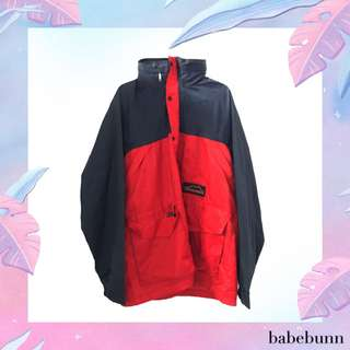 hidden hood emergency red & navy color block windbreaker jacket