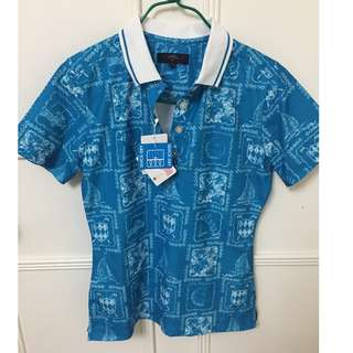 top - blue white pattern tee polo from callaway N EW  quick dry