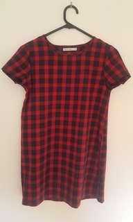 RARE Cotton Red Tartan Chequered Dress Size 6