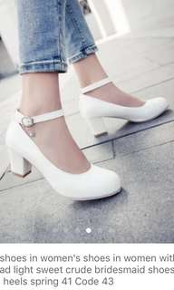 White heels with strap