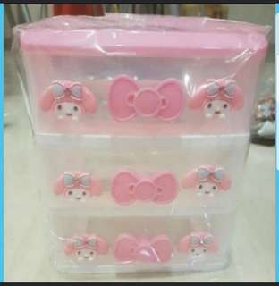 In Stock My Melody Desktop Drawers 3 Tiers Stationery Drawers Storage Cabinet Size 17 × 14 × 17cm