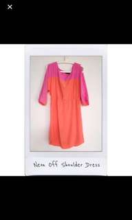 Neon Off Shoulder Dress