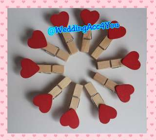 Wooden Pegs Red Heart