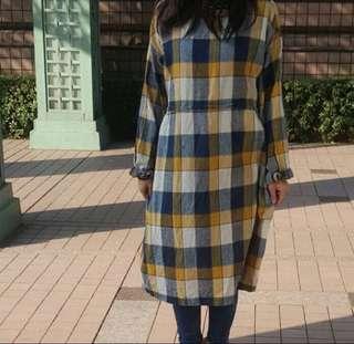 🚚 日本品牌tiara tiara goods藍黃格子洋裝