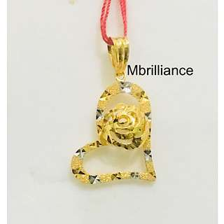 Heart and rose Pendant 22k / 916 solid Yellow Gold Pendant