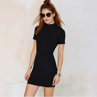 Black knitted ribbed bodycon dress