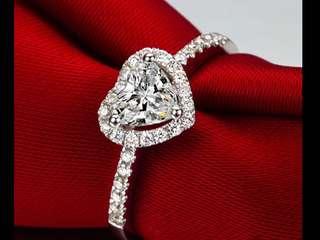 Heart shape diamond ring sparkling