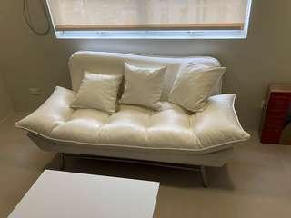 (Brand New White) 2-Seater Leather Sofa + Throw Pillows