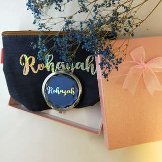 Name personalised makeup pouch and pocket mirror | bundet set