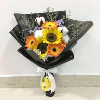 Cotton Flower with Sunflower and Gerberas Birthday Bouquet Valentines Day