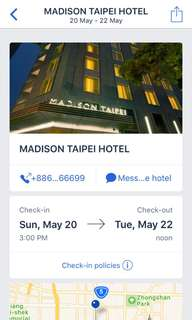 Hotel Stay (Madison Hotel Taipei)