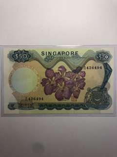 Singapore Orchid $50 HSS w/seal AU/UNC