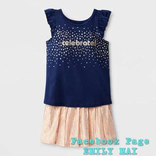 CAT&JACK Tank Top & Skirt Set - Navy Golden Print