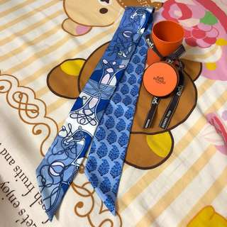 (有一對)Hermes Silk Twilly blue coup de fouet au bloc
