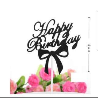 (3 for $7) Happy Birthday Ribbon Cake Topper