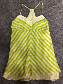 Urban Outfitters- Silence + Noise Green Ivory Stripe Top 吊帶背心