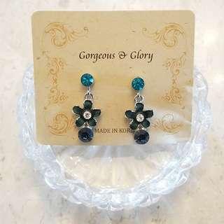 施華洛世奇水晶 藍色花花 耳環
