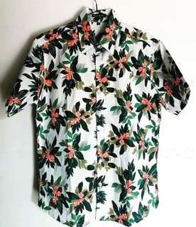 Mens Full Button Down Polo White Floral Summer Hawaiian