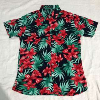 Mens Full Button Down Polo Black Floral Summer Hawaiian