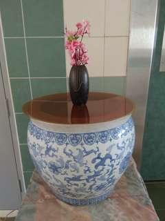 二合一古典青花瓷缸茶桌 (2 in 1) Flower Pot with plastic table top be  coffee table