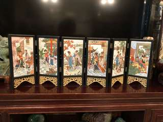 Vintage 6pcs tile Chinese ladies painting table screen divider