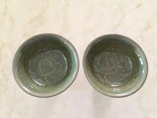 1 pair of Chinese green glaze tall ceramic cups with Phoenix pattern - come with box