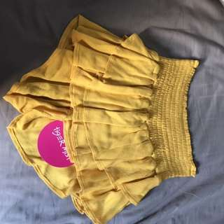 Tiger mist yellow frilly shorts