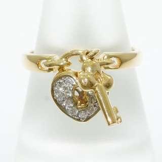 18k Diamond Ring - Heart & Key