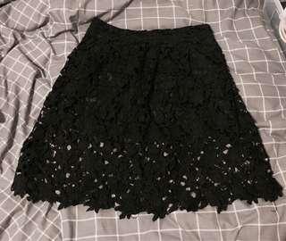 Black lace floral skirt size 10