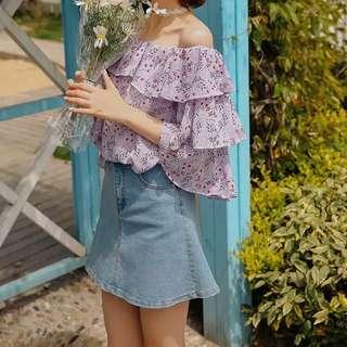 Lilac Romantic Off Shoulder Top