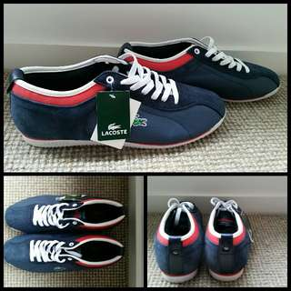 New LACOSTE men's SNEAKERS runners us 10 NAVY leather SUEDE