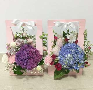 Mother's Day Bouquet in Bloom Box with Hydrangeas and Roses / Thanksgiving