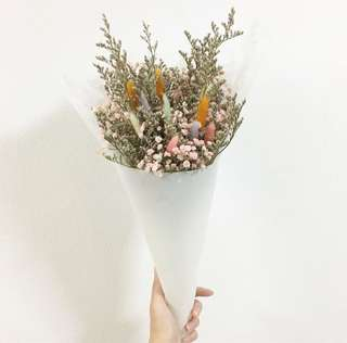 Bunny tail with pink baby breath and Caspia / Birthday Bouquet / Graduation Flowers