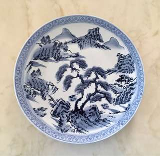 Japanese blue-white porcelain big plate painted with scenery and traditional motifs