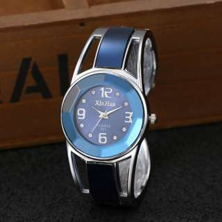 Xinhua Bracelet Watch Women Blue Luxury Brand Stainless Steel Dial Quartz Wristwatches Ladies Fashion Watches
