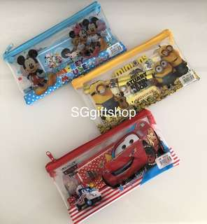 Preschool children birthday party goodies favors, goodie bag - cartoon stationary pouch set