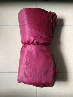 Maroon sleeping bag