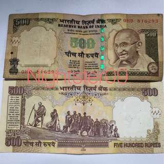 Old Note 500 rupee indian