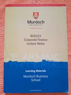 Corporate Finance Lecture Notes by Murdoch University