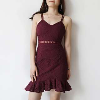 Maroon Strappy Crochet Dress