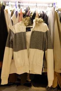 GAP White & Grey Winter Jacket with Fur Hoodie