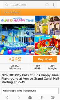 Kids happy time ticket for 3hrs with 1 companion