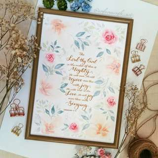 Customised Watercolour Floral Designs And Calligraphy
