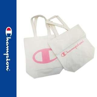 日版 Champion 雜誌附錄 米白色帆布 粉紅LOGO 雙面刺繡 側咩袋