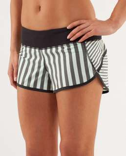 NEW Lululemon Run: Speed Short, Sea Mint Stripe/Black, sz2/AU6