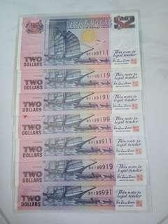 $2  ( 船 )  ship series      -  UNC